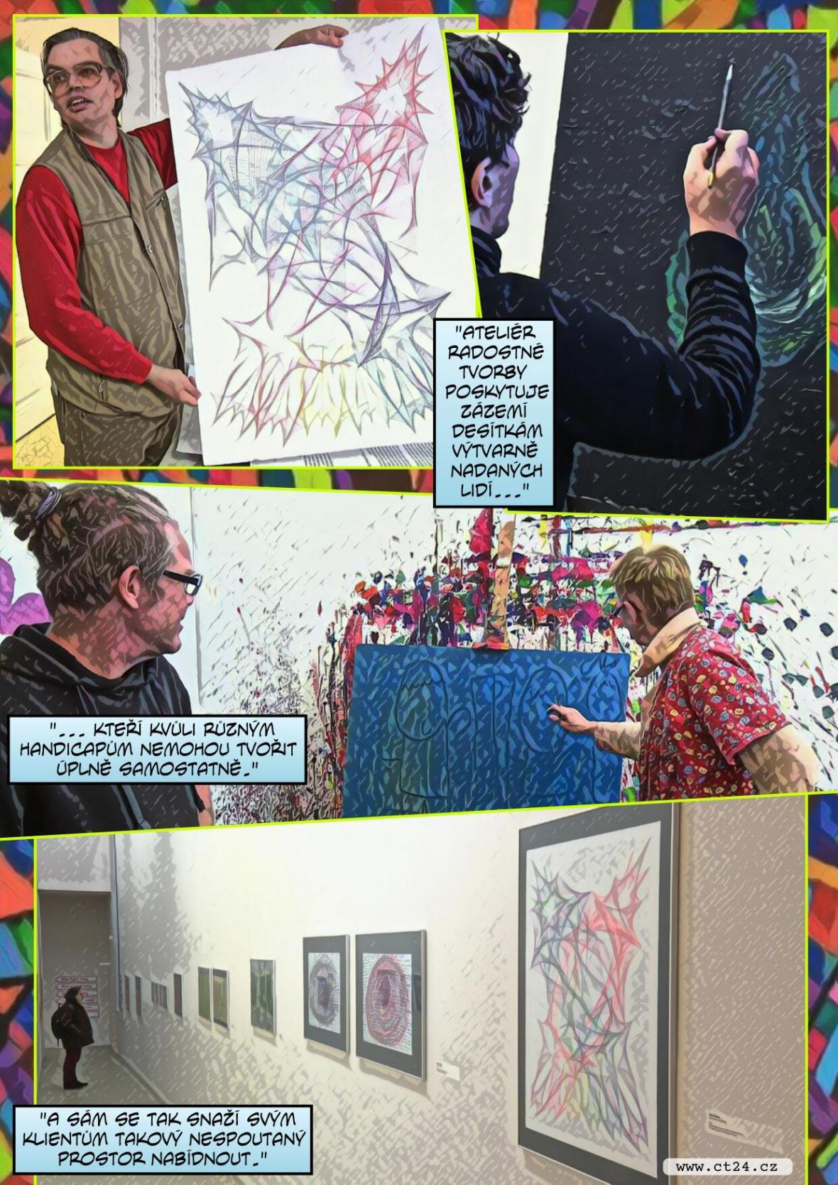 Hendikepovaní umělci tvoří spolu s profesionály z různých zemí. Jejich výtvory obstojí i před kritiky