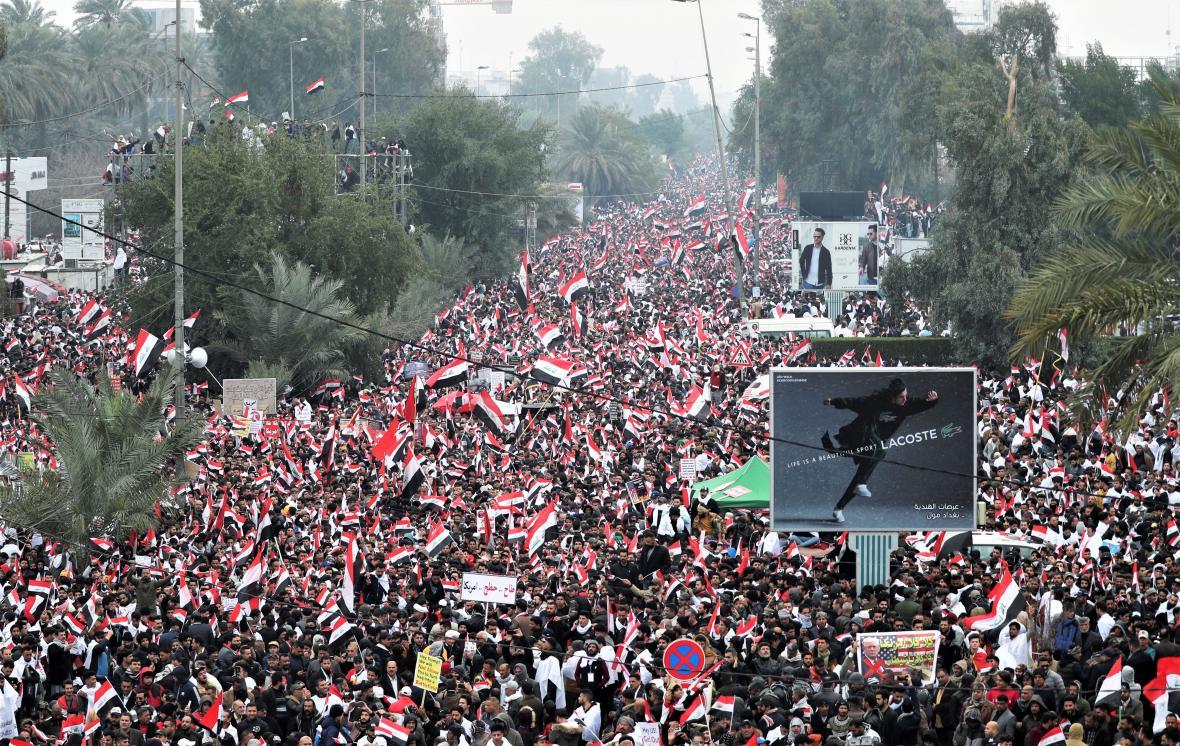 Demonstrace za stažení americké armády z Iráku