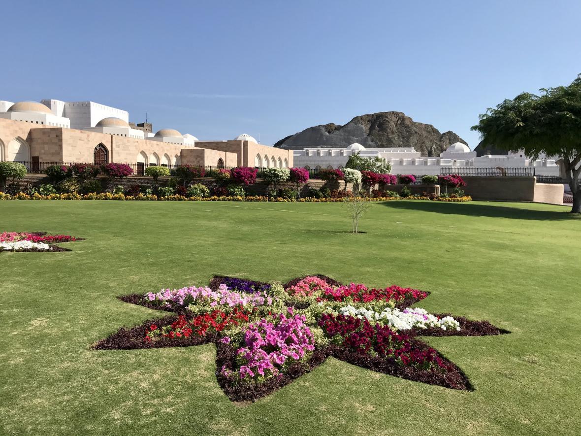 Zahrady u Kábusova paláce v Maskatu