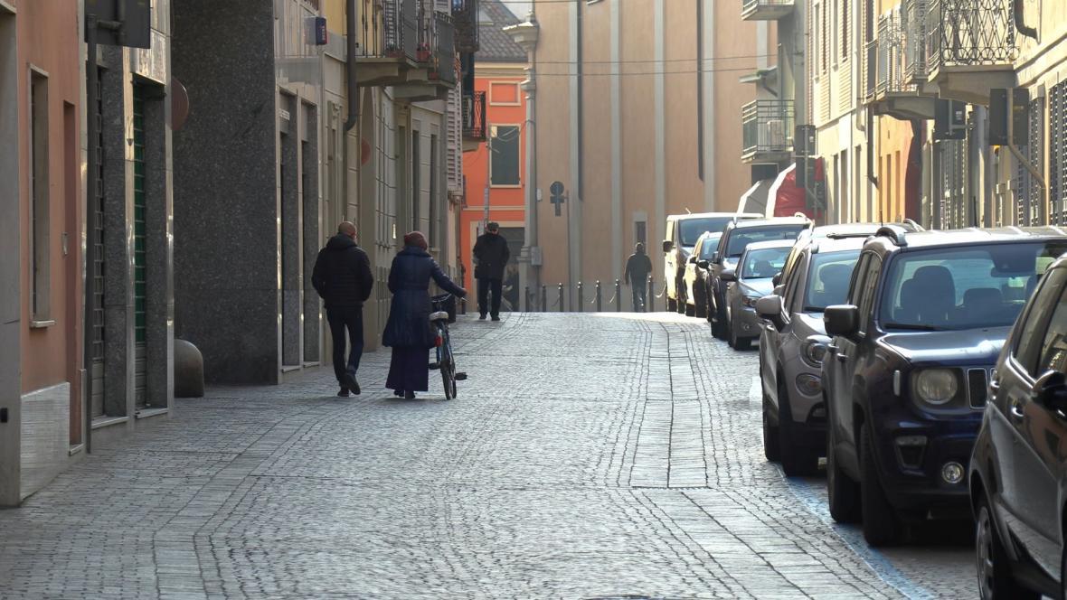 Prázdné ulice města Codogno
