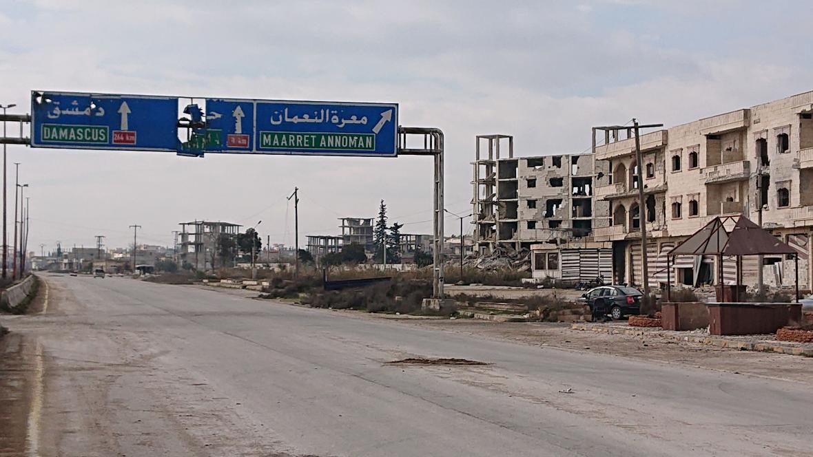 Maarat an Numan v provincii Idlib čerstvě dobytý provládními vojsky