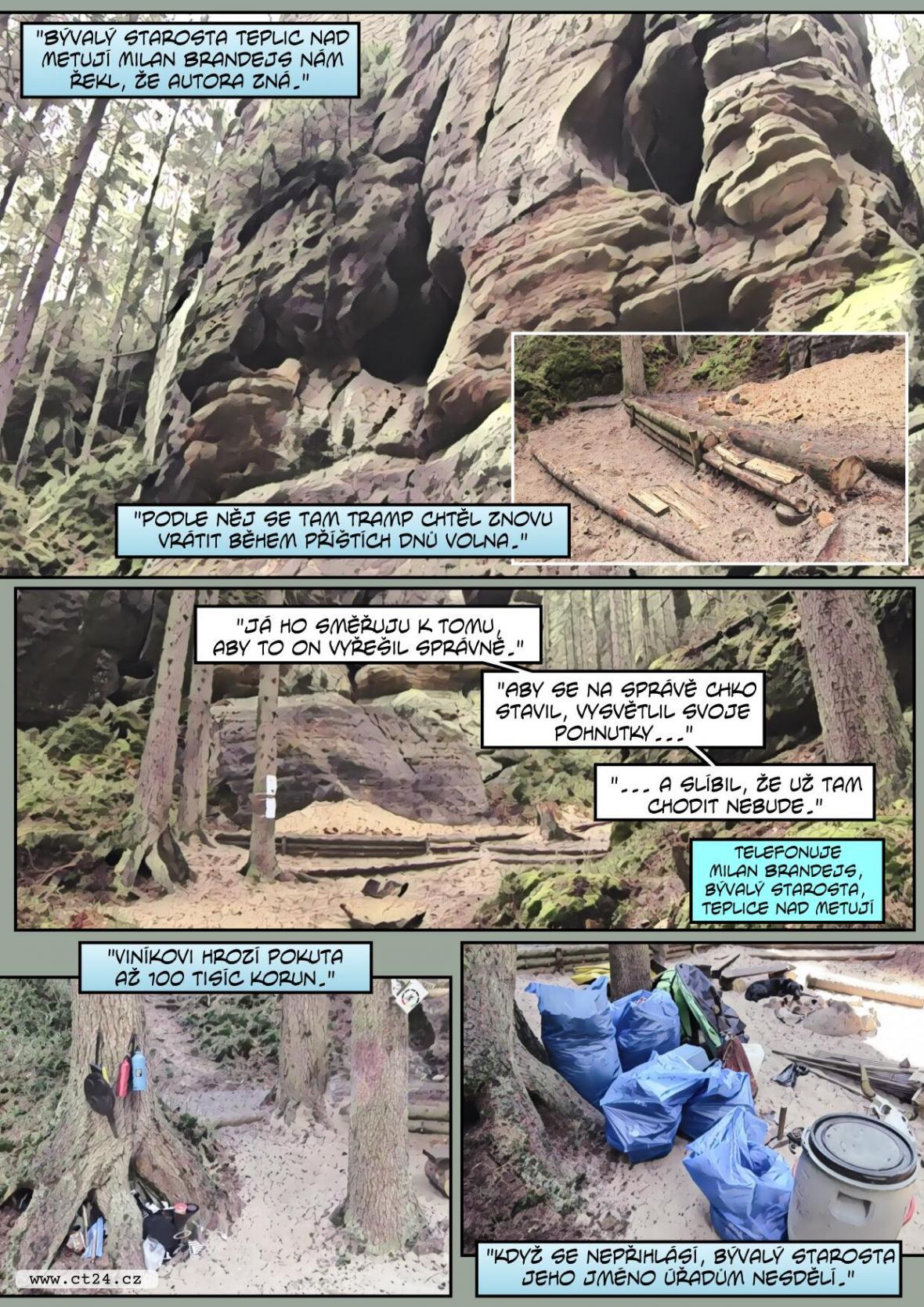 Nelegální tábořiště v Adršpašsko-teplických skalách. Pachateli hrozí vysoká pokuta