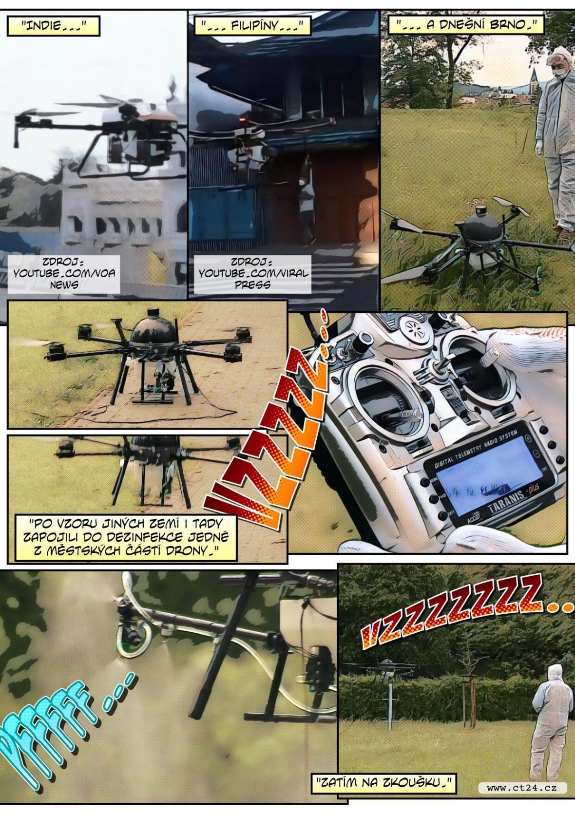 Drony dezinfikují v Brně veřejná prostranství