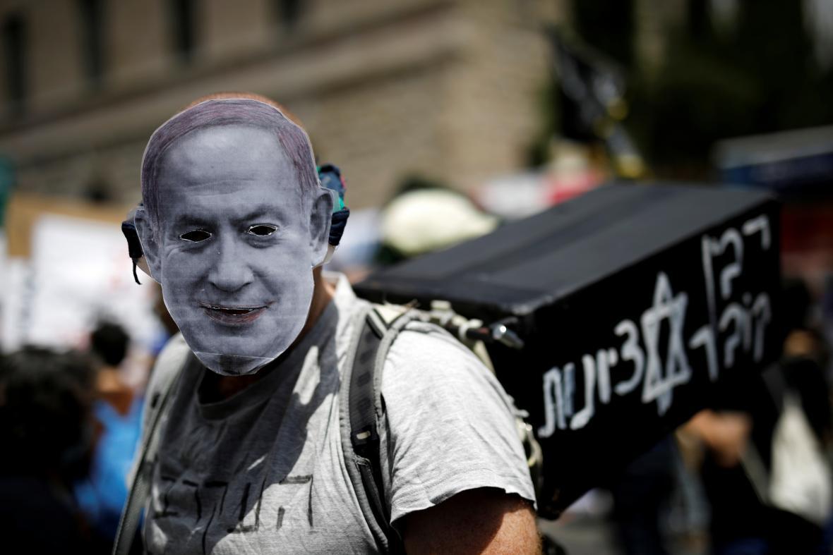 Protest proti izraelskému premiérovi Netanjahuovi