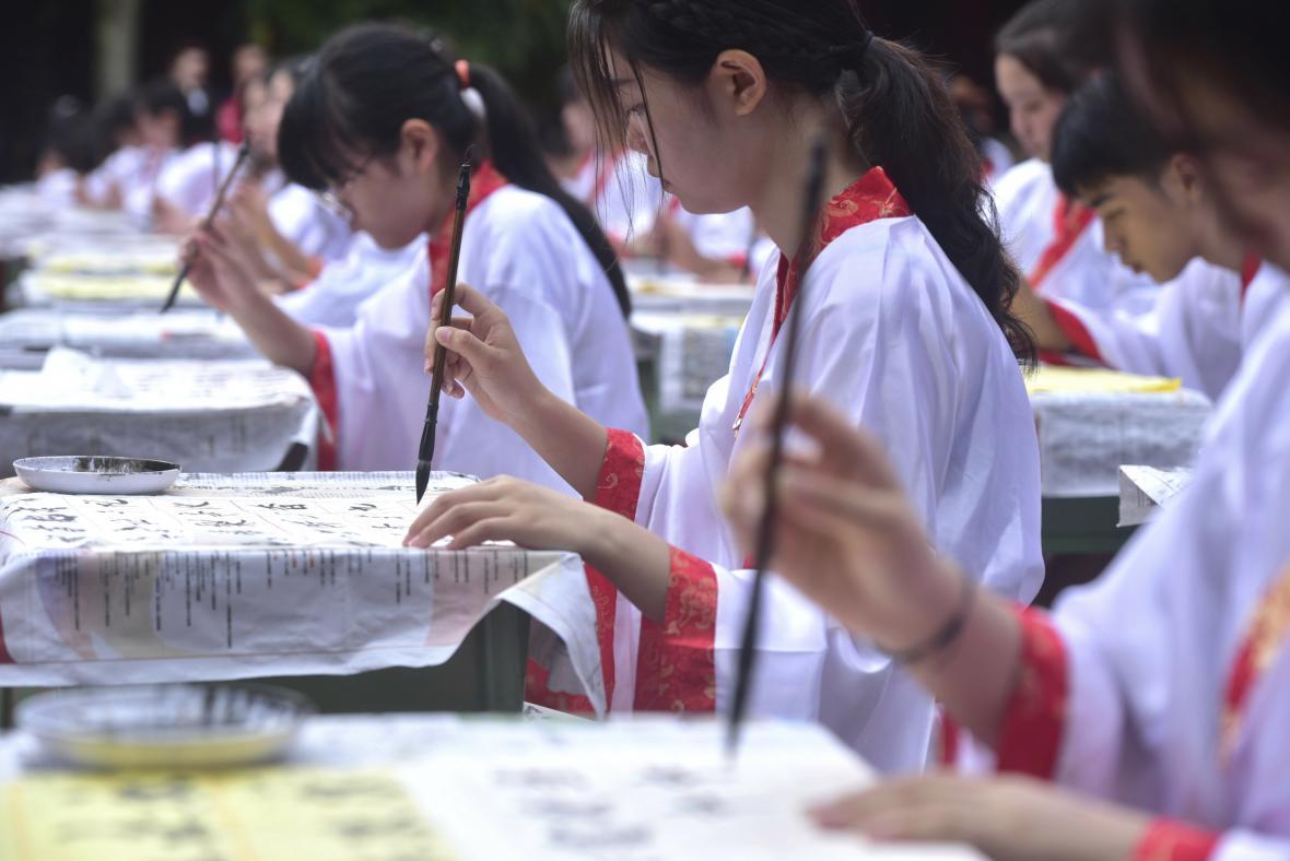 Čínští kaligrafisté hledají toho nejlepšího na setkání ve městě Nej-ťiang