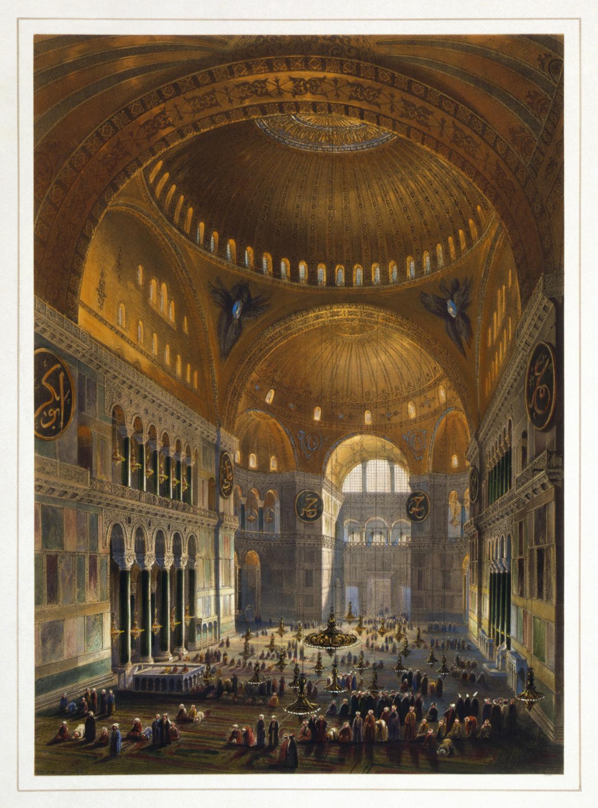 Vnitřek budovy v době, kdy byla mešitou