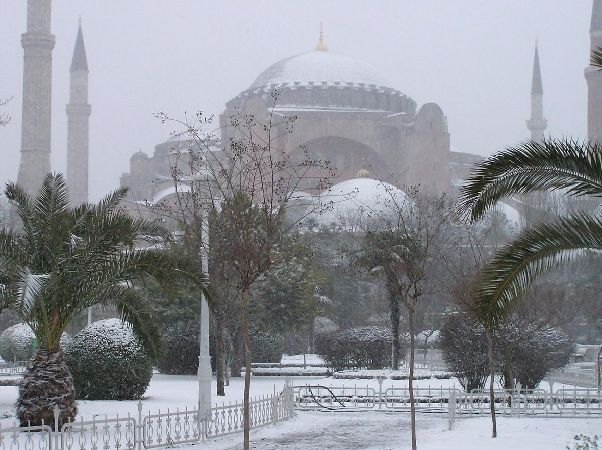 Zasněžená Hagia Sofia