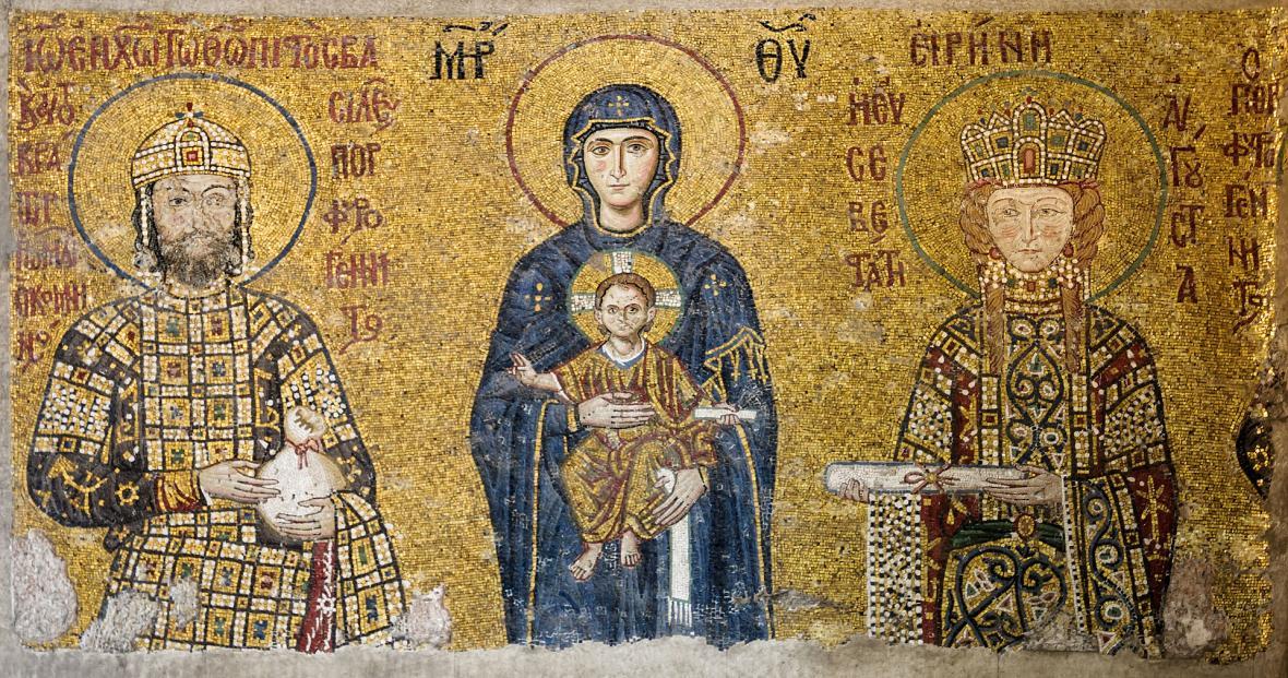 Křesťanské mozaiky uvnitř chrámu