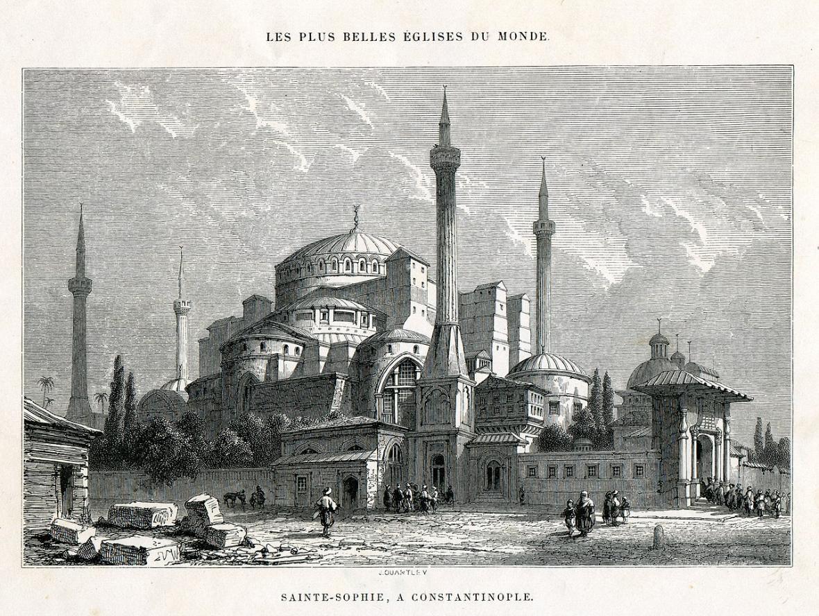 Hagia Sofia v tehdejší Konstantinopoli