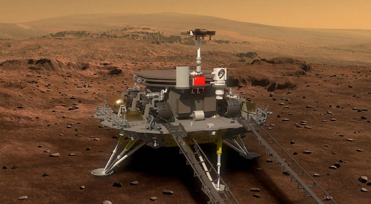 Vizualizace čínského roveru pro Mars