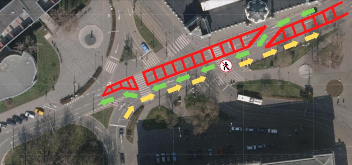 Dopravné omezení na Žerotínově náměstí v Brně