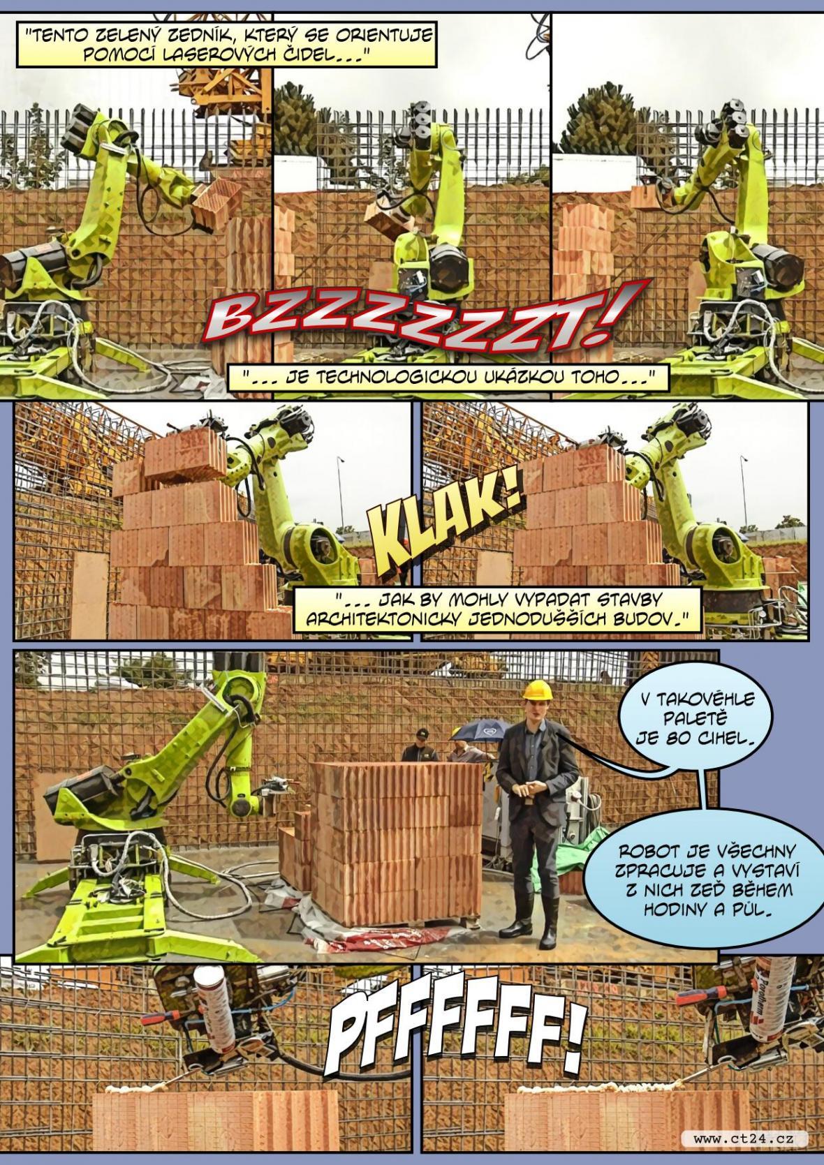 Stroj dělník. V Říčanech pomáhá při stavbě domů robot