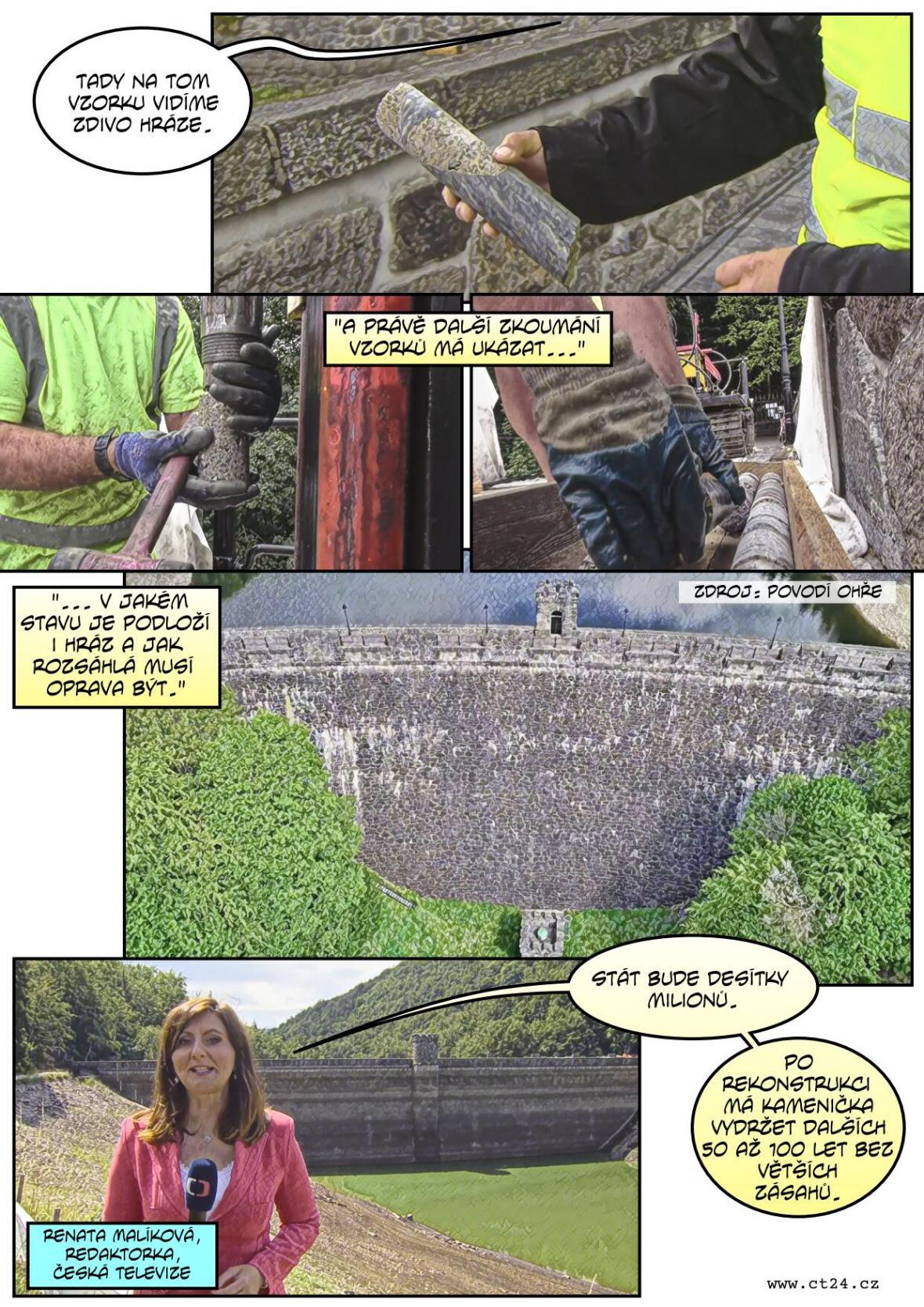 Těžké stroje vrtají do hráze staré přes sto let. Kameničku na Chomutovsku čekají opravy