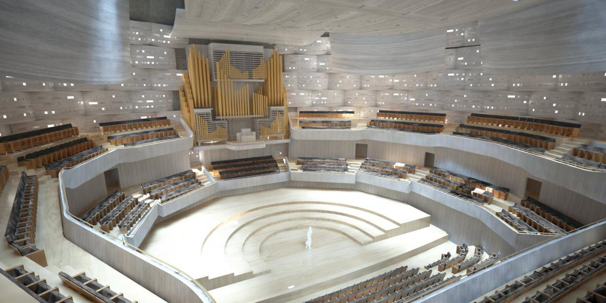 Vizualizace interiéru koncertní haly v Ostravě