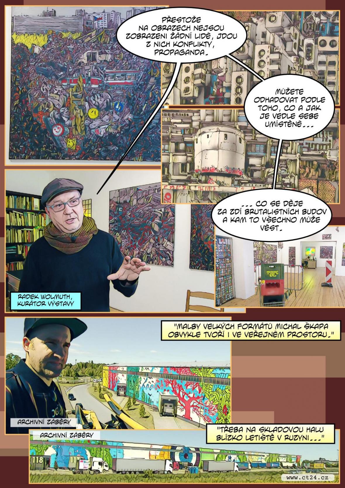 Streetartová výstava v Praze. Výtvarník komiksovými prvky ztvárňuje třeba bourání pomníků