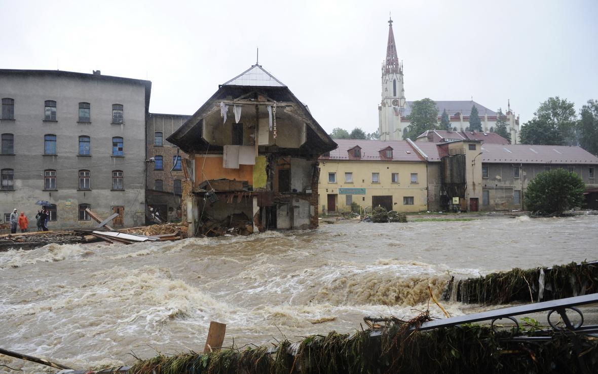 Chrastava při povodni před 10 lety