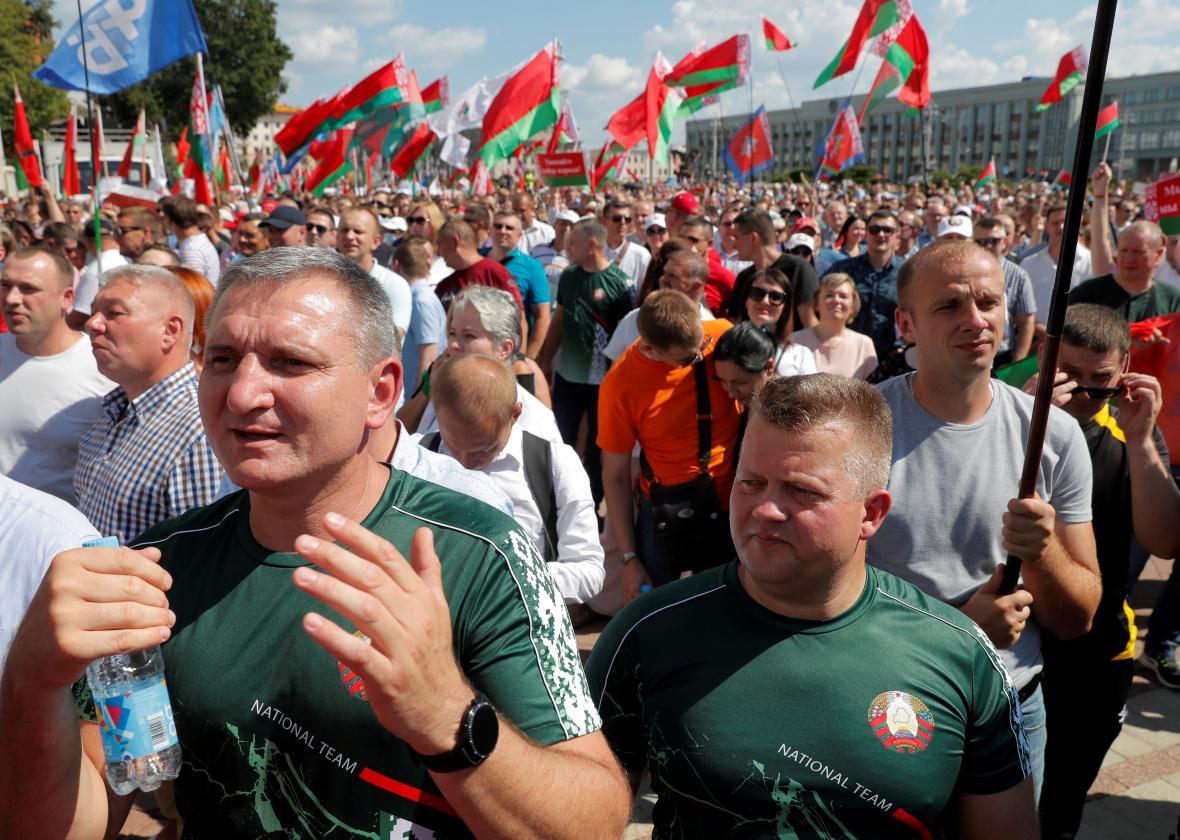 Provládní akce v Minsku 16. srpna 2020