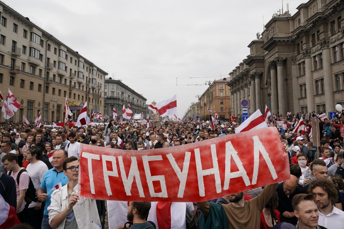 Demonstrace v Minsku, 23. srpna