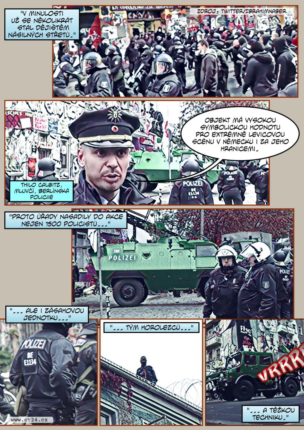 Velký policejní zátah na německý squat. S vyklízením doupěte levicových extrémistů pomáhali i horolezci