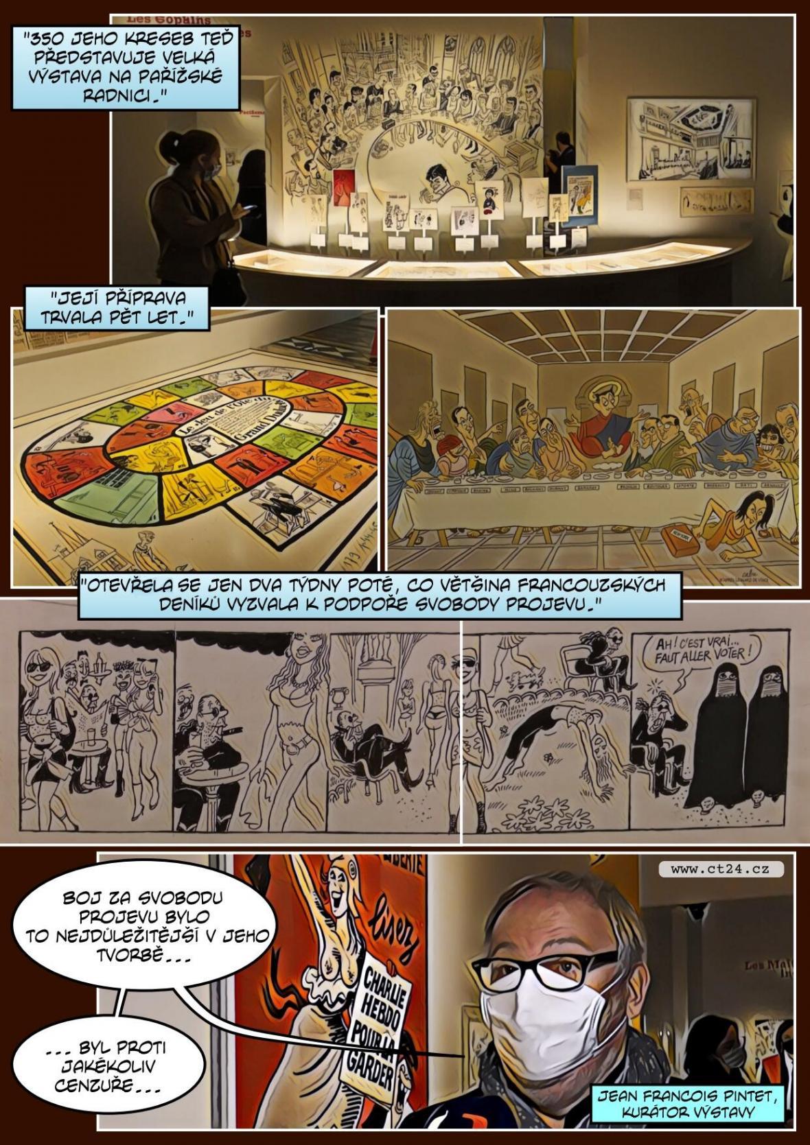 Začala výstava kontroverzního kreslíře Cabuta. Ten nepřežil atentát na redakci Charlie Hebdo