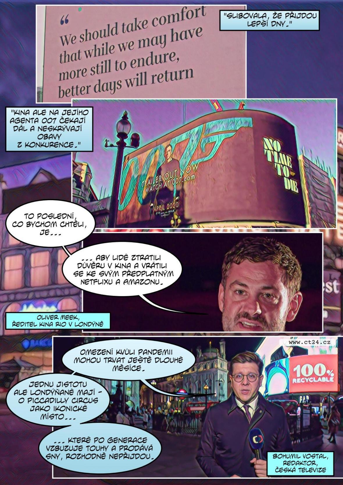 Slavný Piccadily Circus funguje i v době koronavirové pandemie