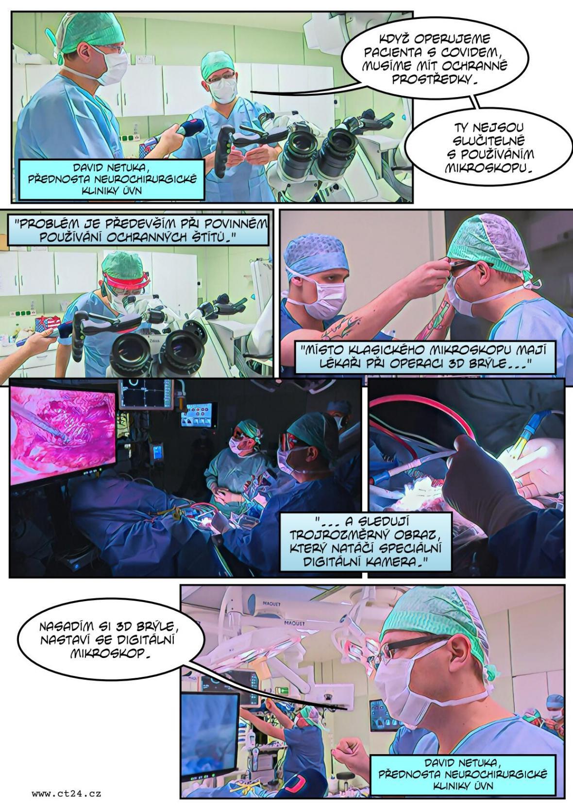 Místo mikroskopu 3D obraz z kamery. Chirurgové ve Střešovicích pracují s digitálním exoskopem