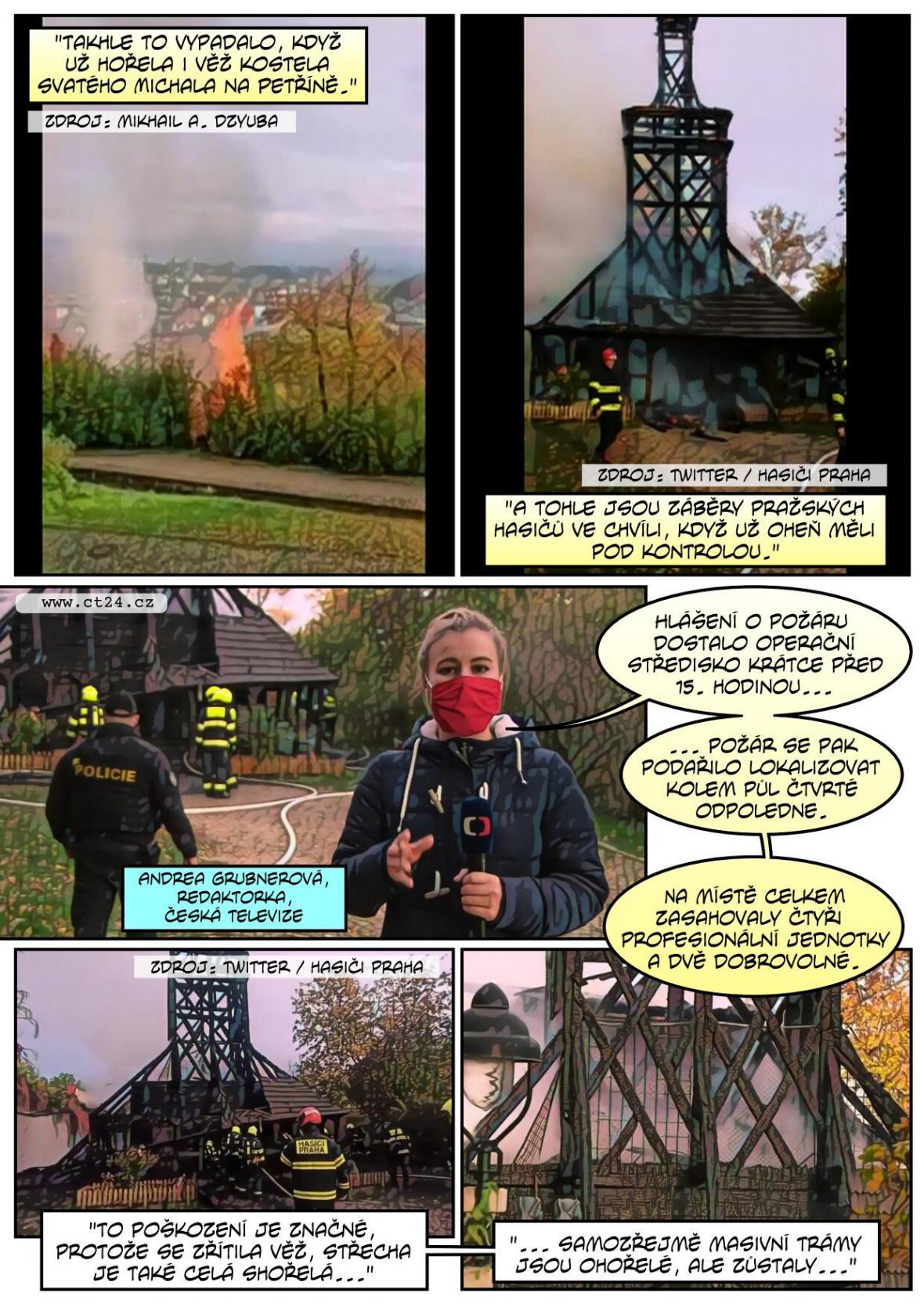 Kostel na Petříně zničily plameny