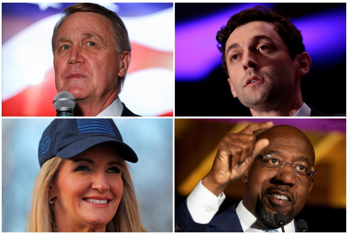 Republikánští senátorští kandidáti David Perdue a Kelly Loeffler (vlevo) a demokratičtí kandidáti Jon Ossoff a Raphael Warnock (vpravo)