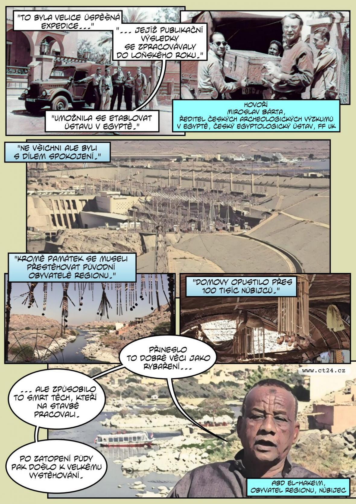 Hráz, která zkrotila Nil a zatopila údolí Abú Simbelu. Egyptu se stavbou Vysoké asuánské přehrady pomáhal Chruščov
