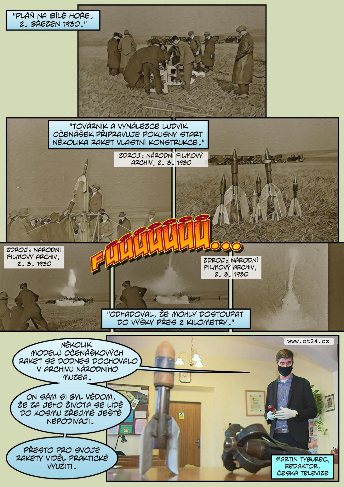 Prvorepublikoví vynálezci chtěli raketami posílat poštu do Ameriky