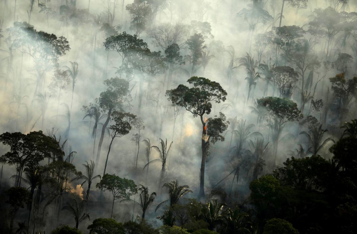 Rozsáhlé požáry v Amazonském pralese z leteckého záběru