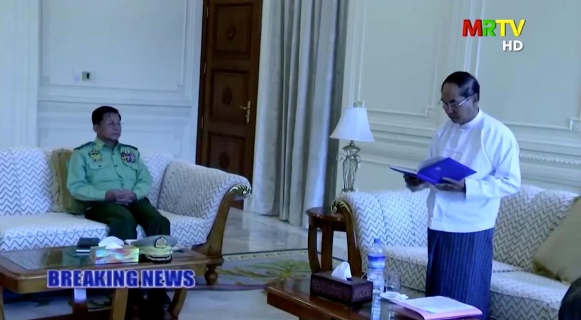 Armáda v Myanmaru převzala moc. Během převratu byl zadržen prezident Win Myina a státní kancléřku Aun Schan Su Ťij