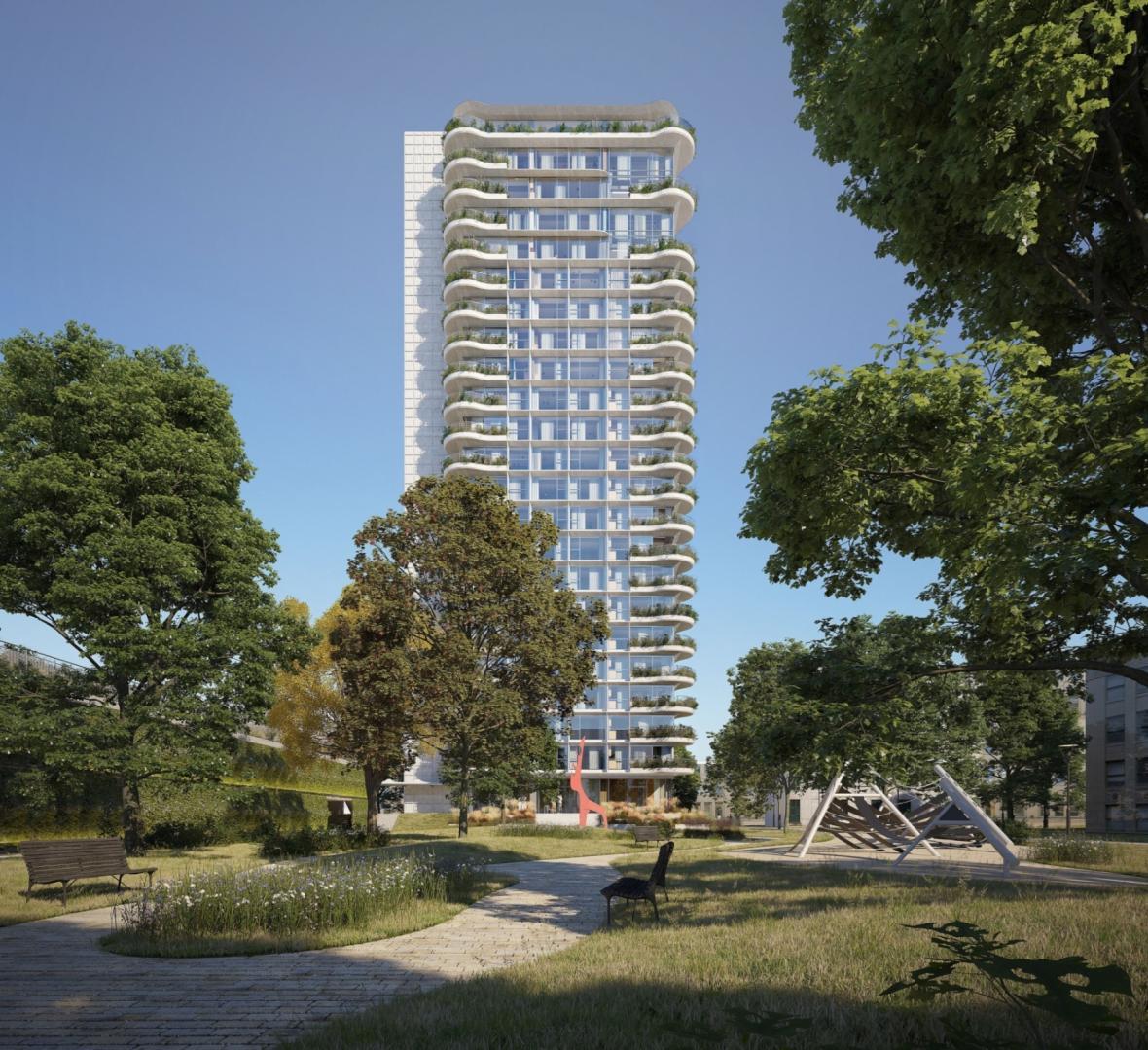Budoucí a současná podoba výškového domu v Odstrčilově ulici v Ostravě