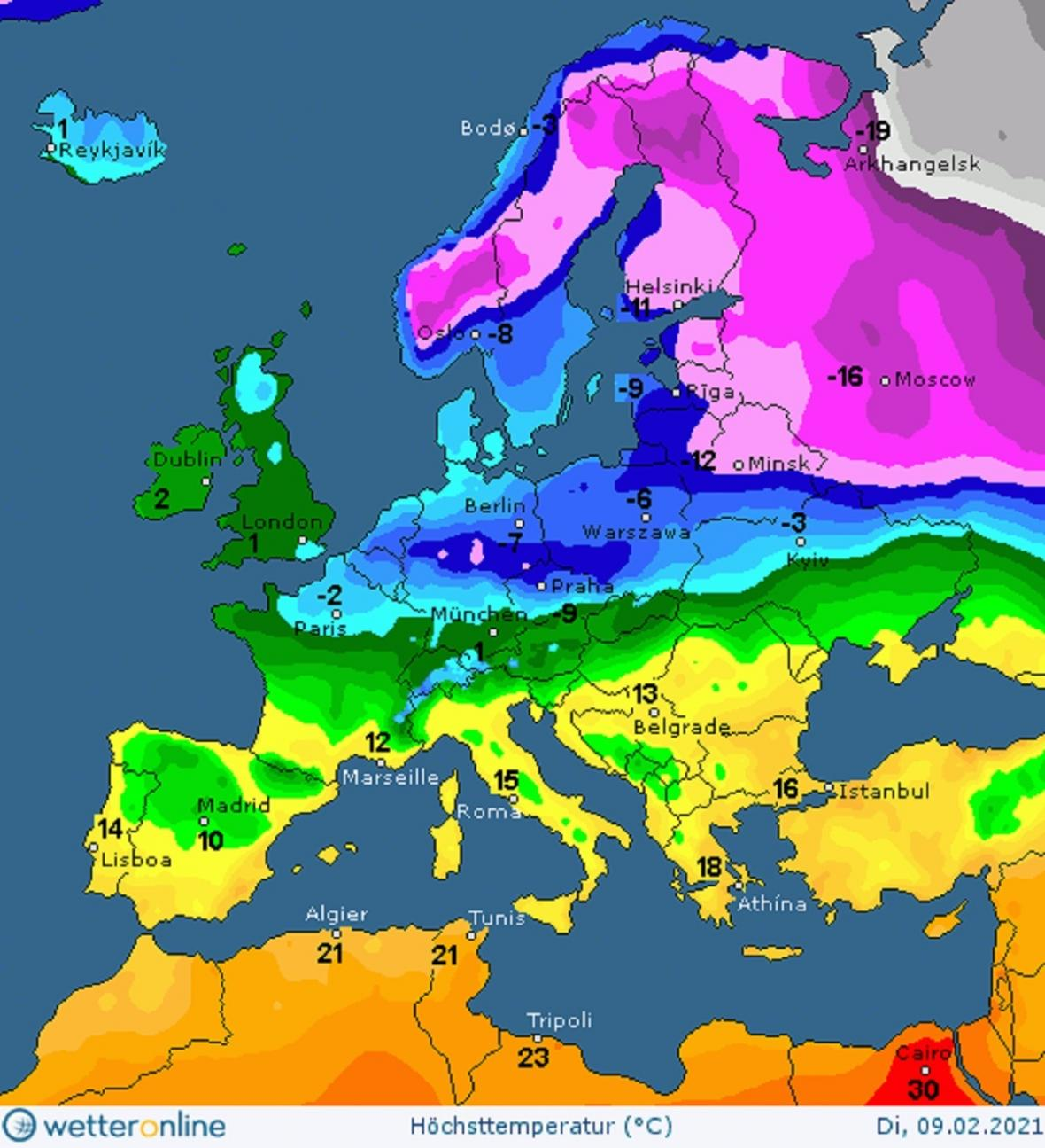 Maximální teploty v úterý 9. 2. a o týden později