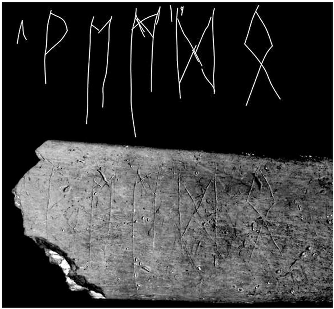 Kost s runami objevená u Břeclavi
