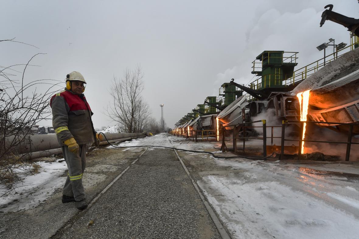 Zimní provoz ve struskárně společnosti Liberty Ostrava na snímku z 10. února 2021