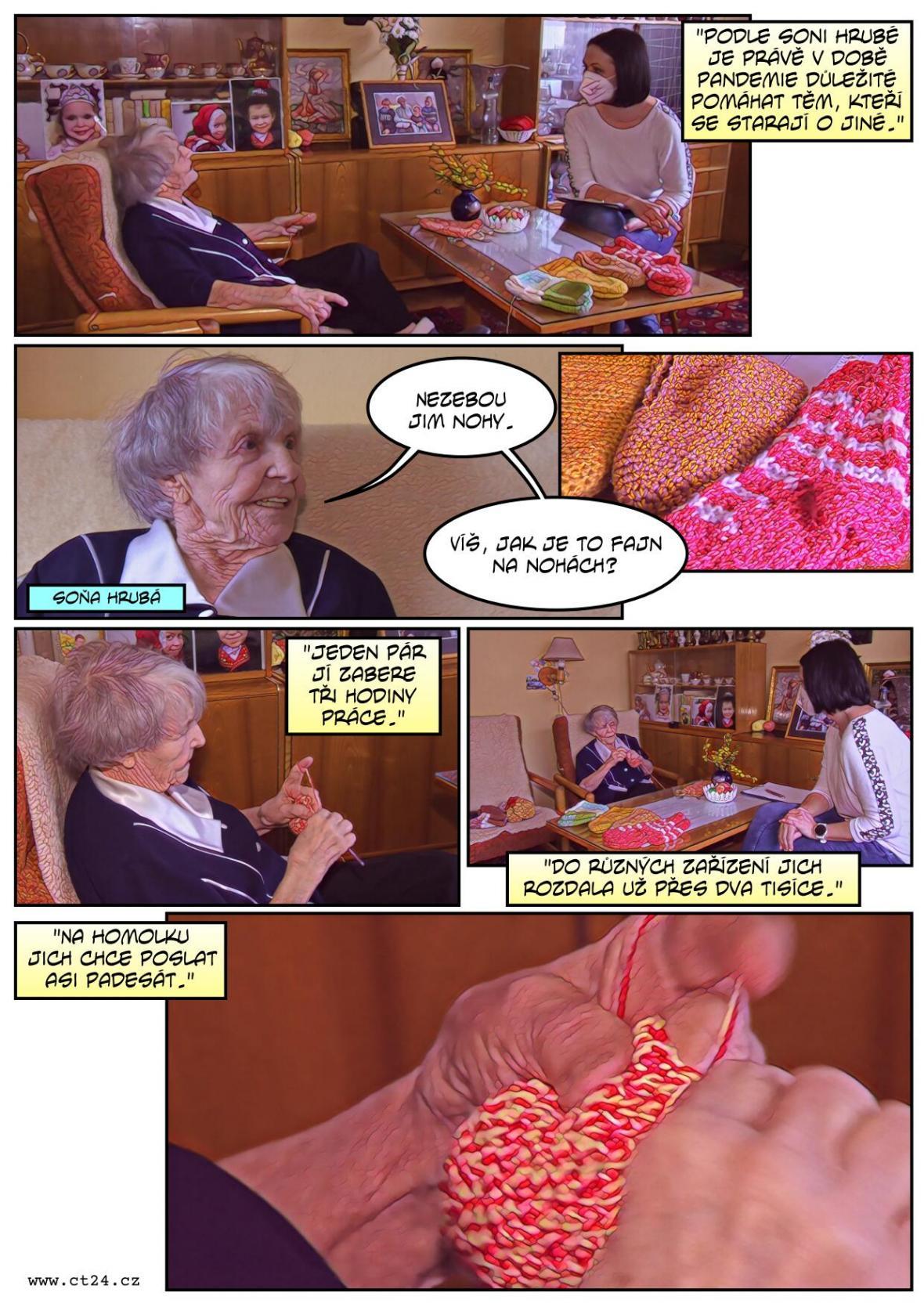 Devětaosmdesátiletá seniorka háčkuje ponožky pro nemocnice