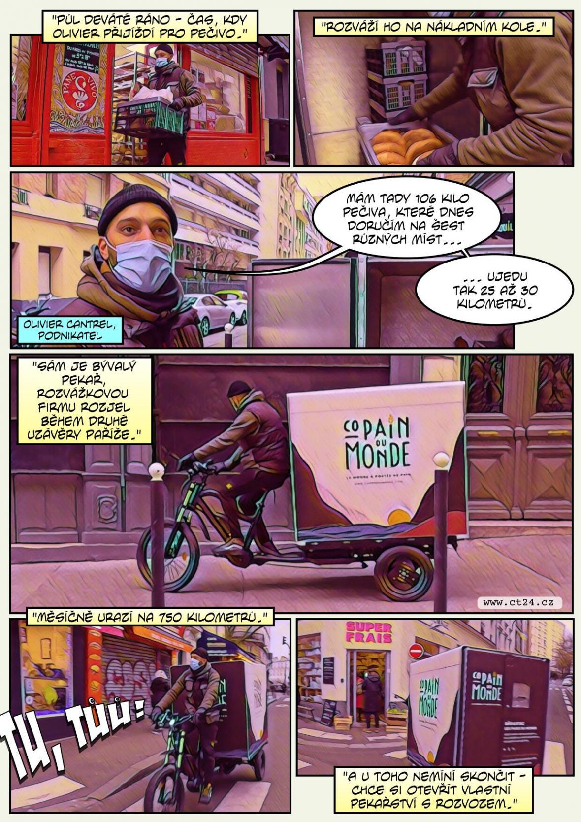 Nákladní kola rozvážejí po Paříži jídlo