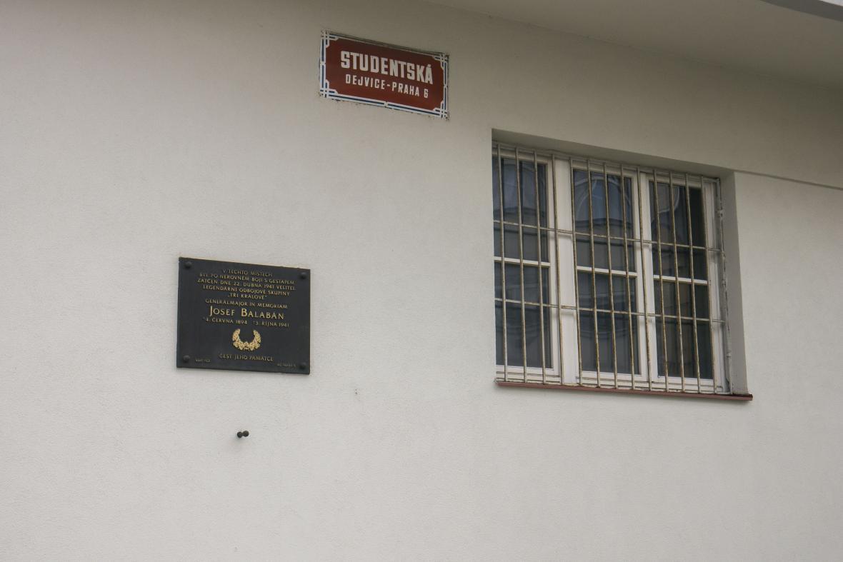Místo zatčení Josefa Balabána gestapem v pražských Dejvicích