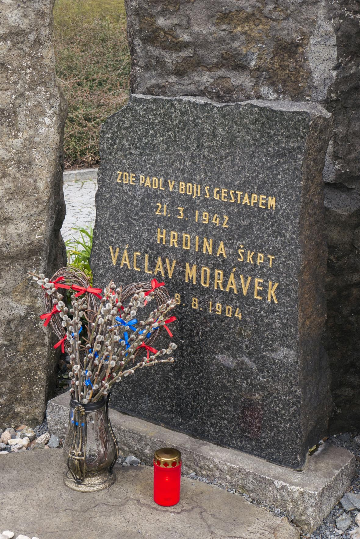 Místo zabití Václava Morávka gestapem na Prašném mostě
