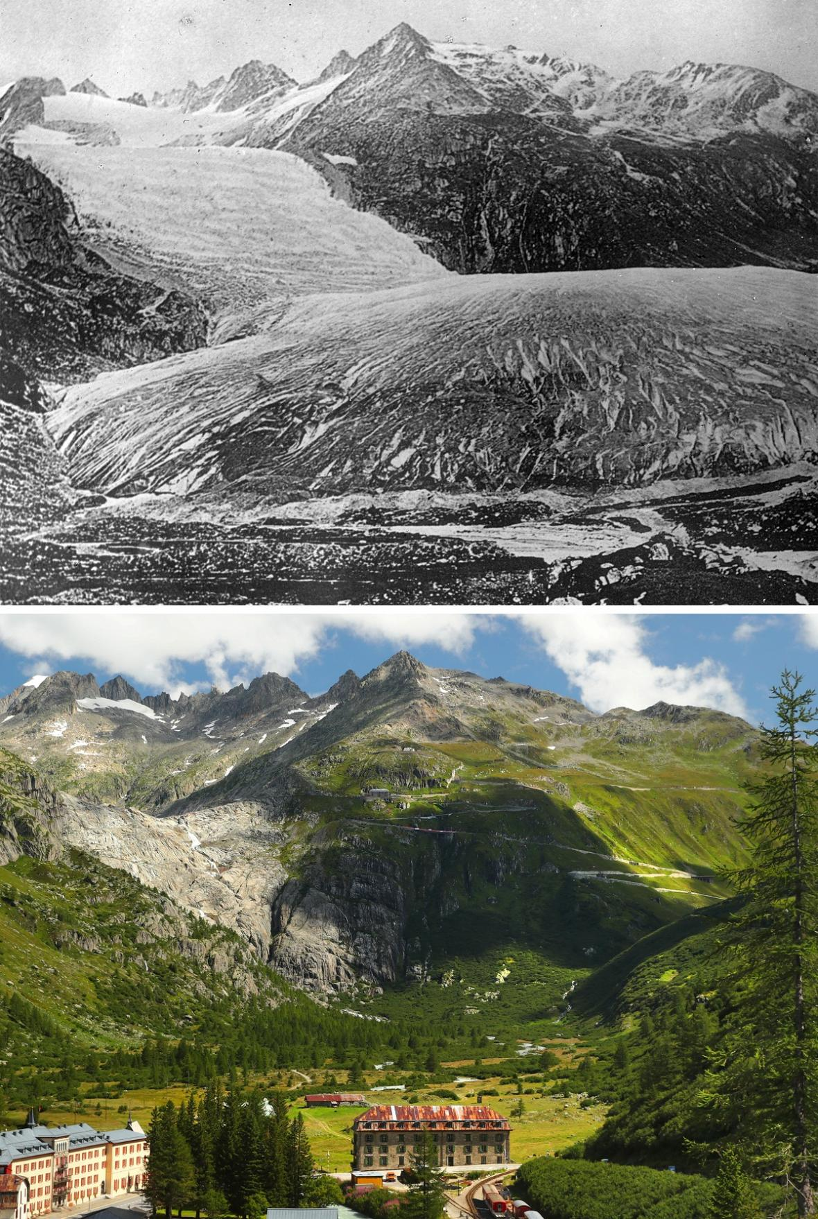 Změna švýcarských ledovců za sto let