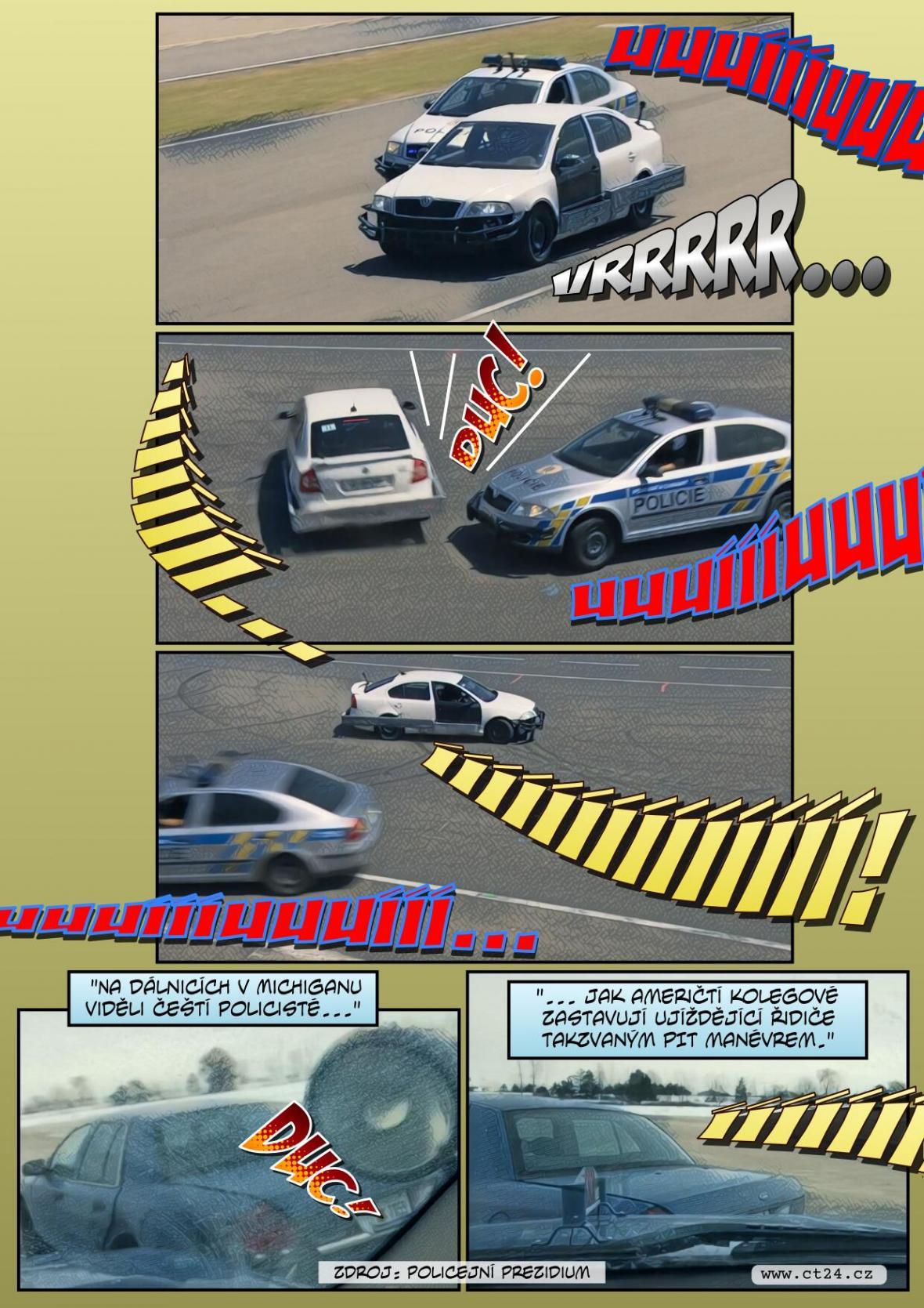 Policejní manévr zastaví auto na útěku