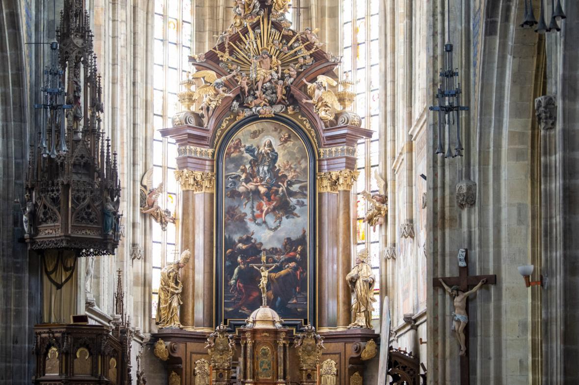Oltářní obraz Petra Brandla v kostele svatého Vavřince ve Vysokém Mýtě