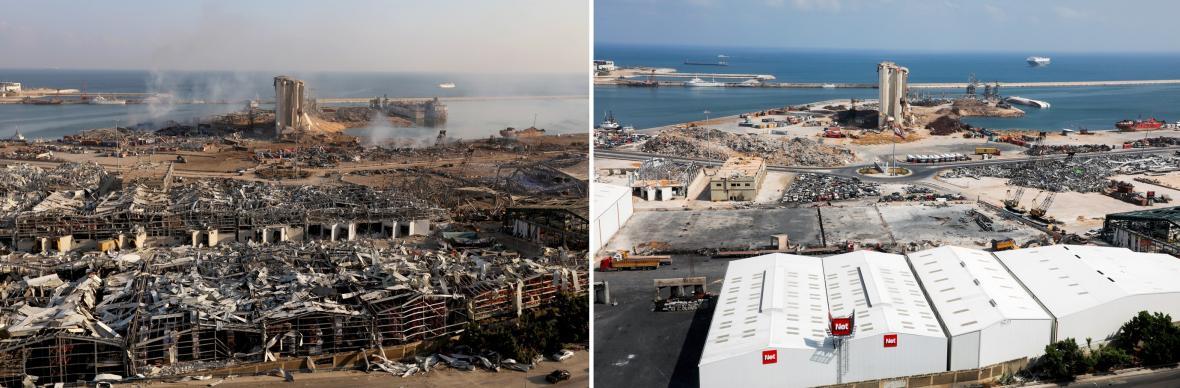 Srovnávací galerie fotografií po výbuchu v bejrútském přístavu dne 4.srpna 2020 a následně ze dne 29. července 2021