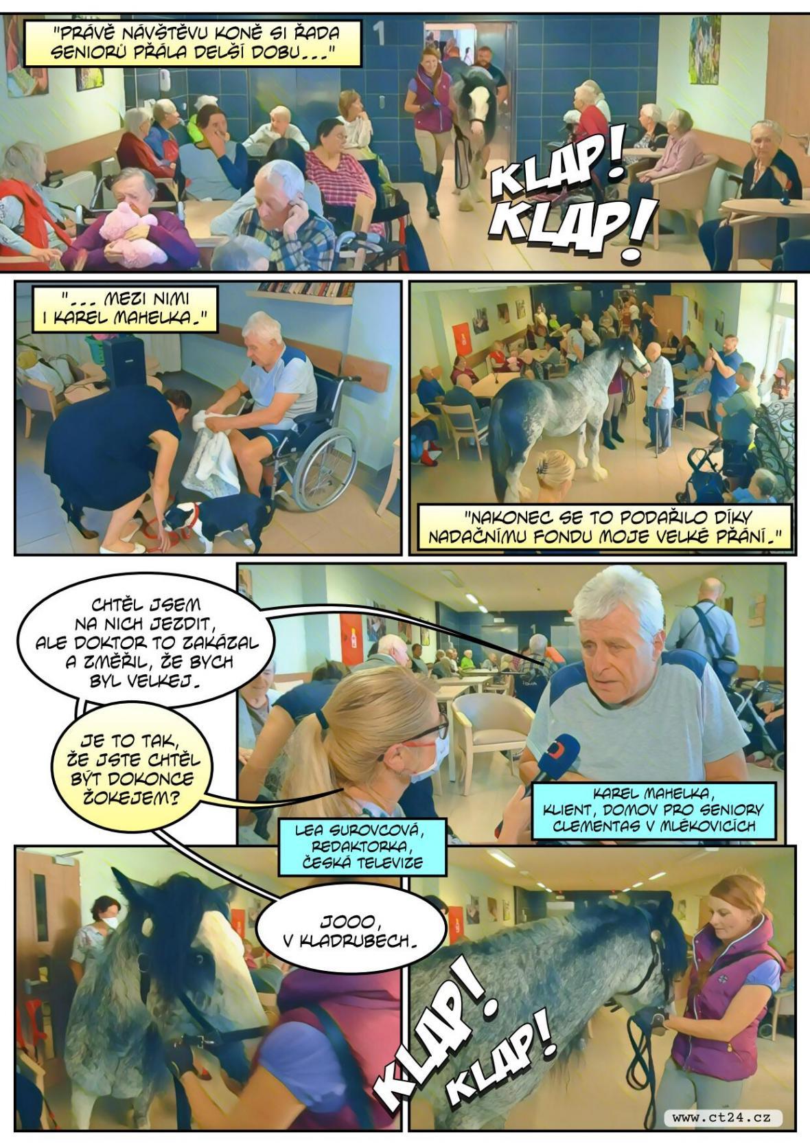 Kůň navštívil domov pro seniory, jel i výtahem