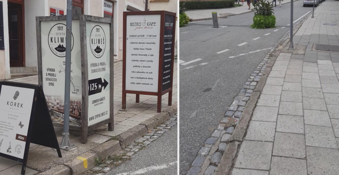 Reklamy v Mikulově před půl rokem a dnes