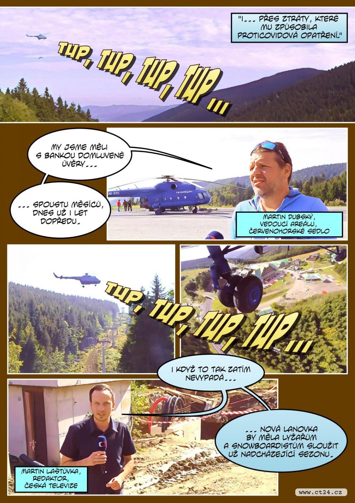Vrtulník v Jeseníkách pomáhal při stavbě nové lanovky