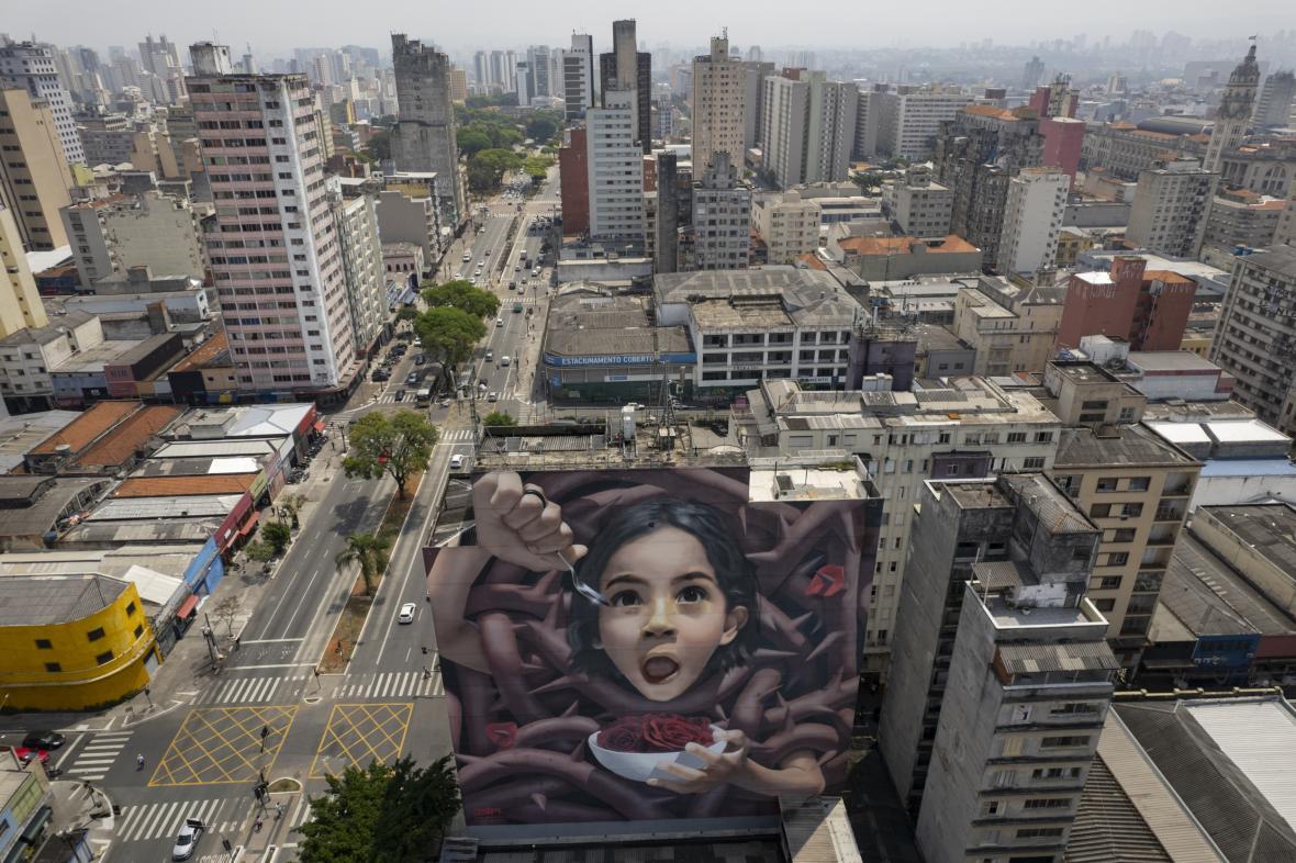 Během urbanistického festivalu Nalata, který probíhal ve čtvrti Pinheiros brazilského města Sao Paolo, umělci tvoří na stěnách obytných domů obří malby