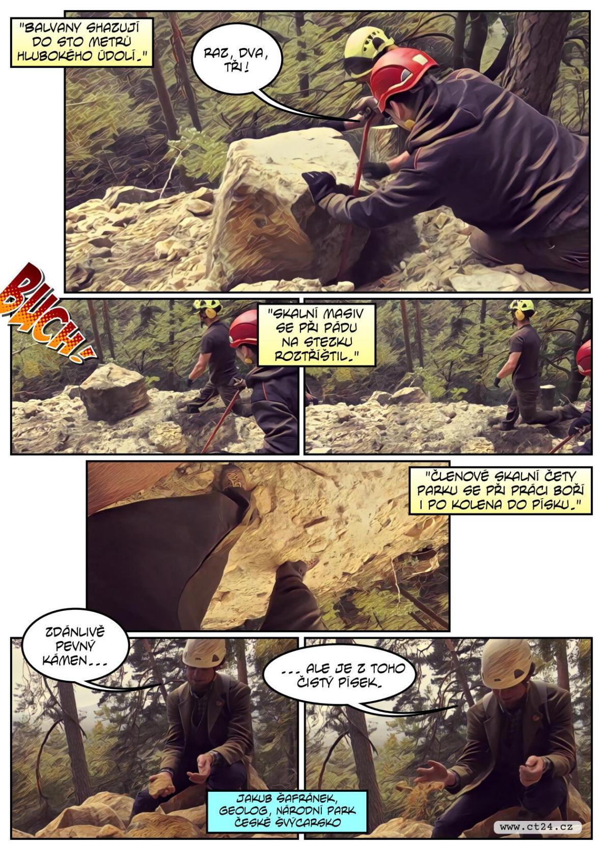 V Českém Švýcarsku se zřítily dvě skalní stěny. Zasypané turistické stezky se otevřou až na jaře