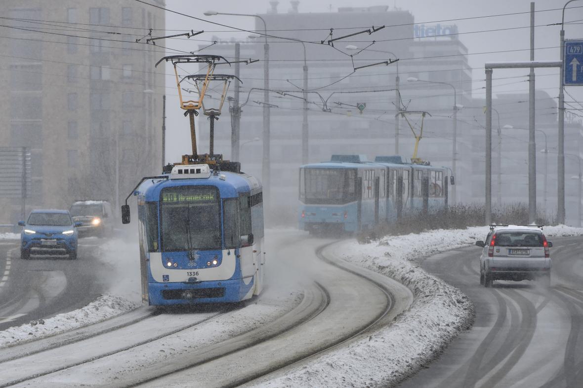 Ostravské tramvaje na Frýdlantských mostech